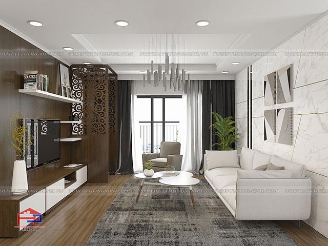 Công trình tủ bếp acrylic và nội thất gỗ An Cường nhà chị Thắng – P401 tòa S1 Goldmark City