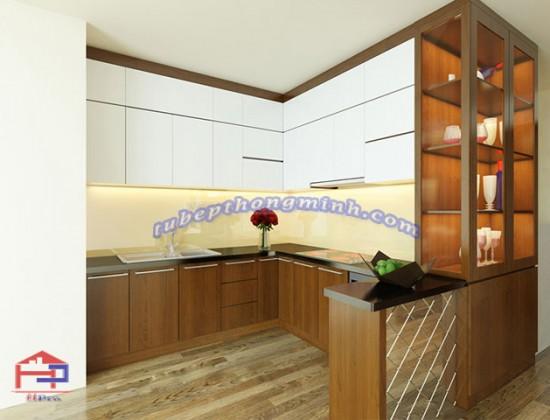 Tủ bếp gỗ Veneer TBVN50 kèm quầy bar