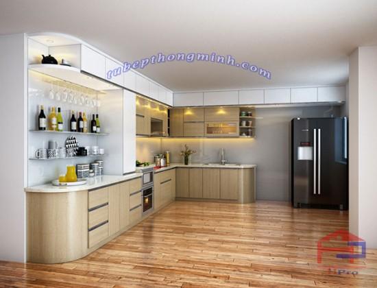 Tủ bếp gỗ Veneer TBVN70 sang trọng