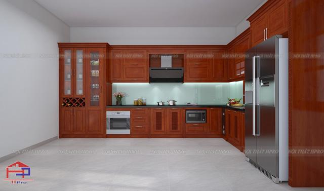 Công trình tủ bếp gỗ xoan đào nhà anh Định – Tp. Việt Trì